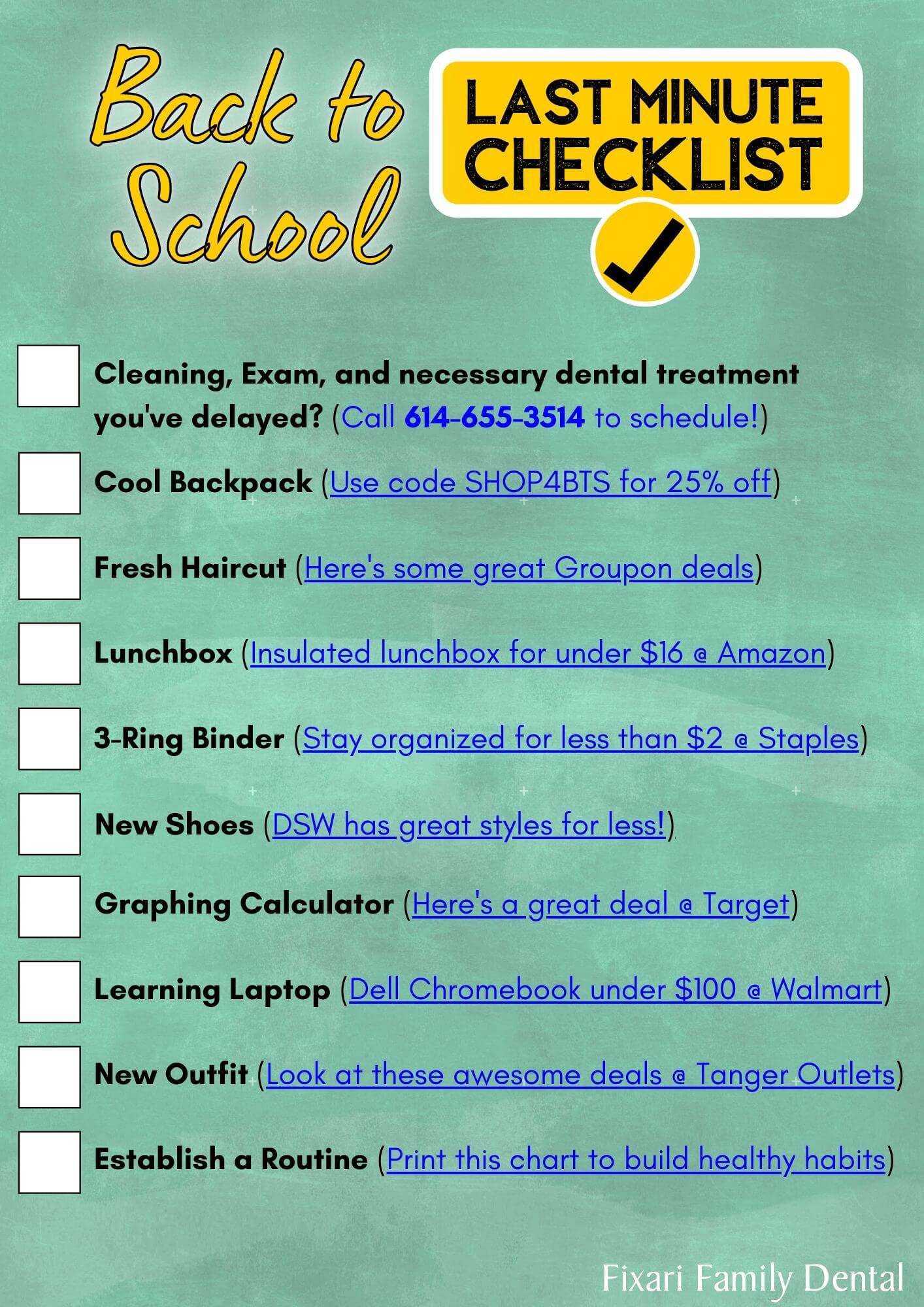 Back to School Last Minute Checklist